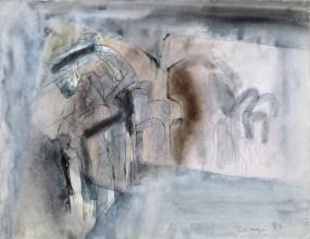 Grace Renzi : N° 74 : 1963, ink + watercolor on paper, 25 x 33 cm.