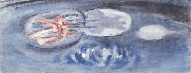 Grace Renzi : N° 97 : 1968, watercolor + ink, 25 x 60 cm.