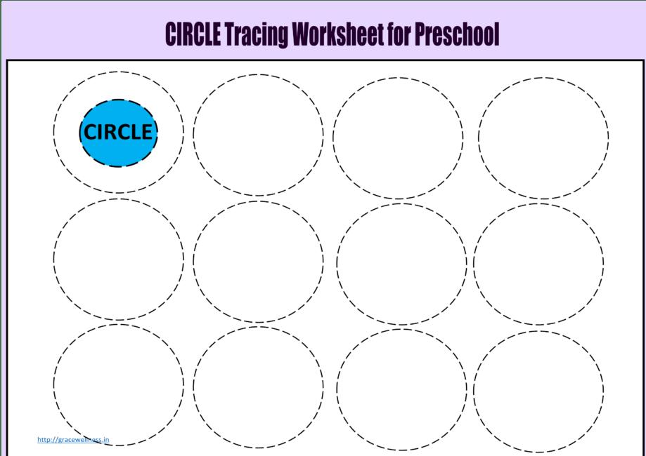 circle tracing worksheet toddlers