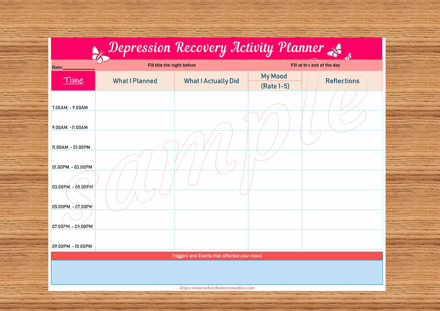 Depression Recovery Activity Planner Pink Template