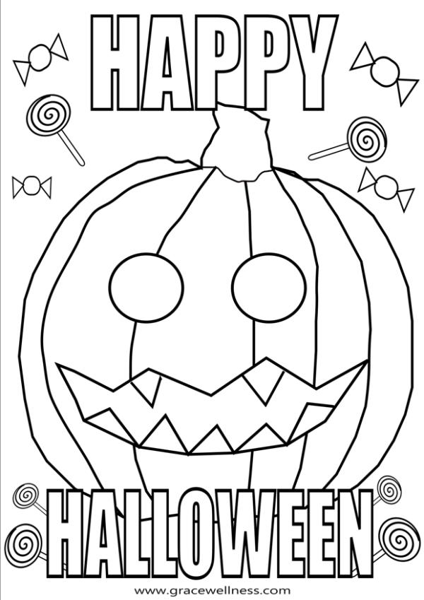 happy halloween pumpkin coloring page
