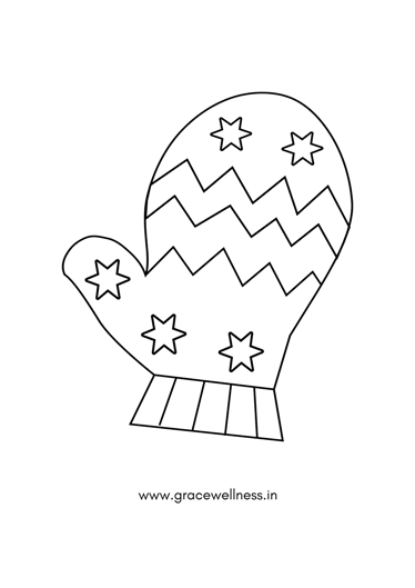 mitten drawing for kids