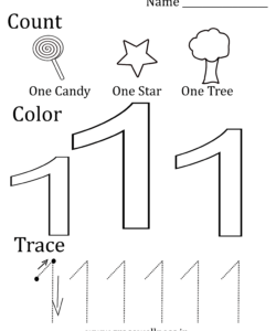 number 1 worksheet preschool math