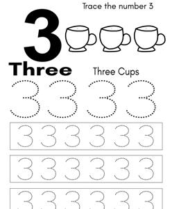 number 3 tracing worksheets