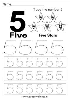 number 5 worksheet kindergarten
