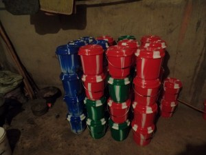 More Outreach buckets filled with sanitation supplies.