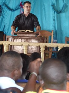 Preaching in a local church on Sunday.