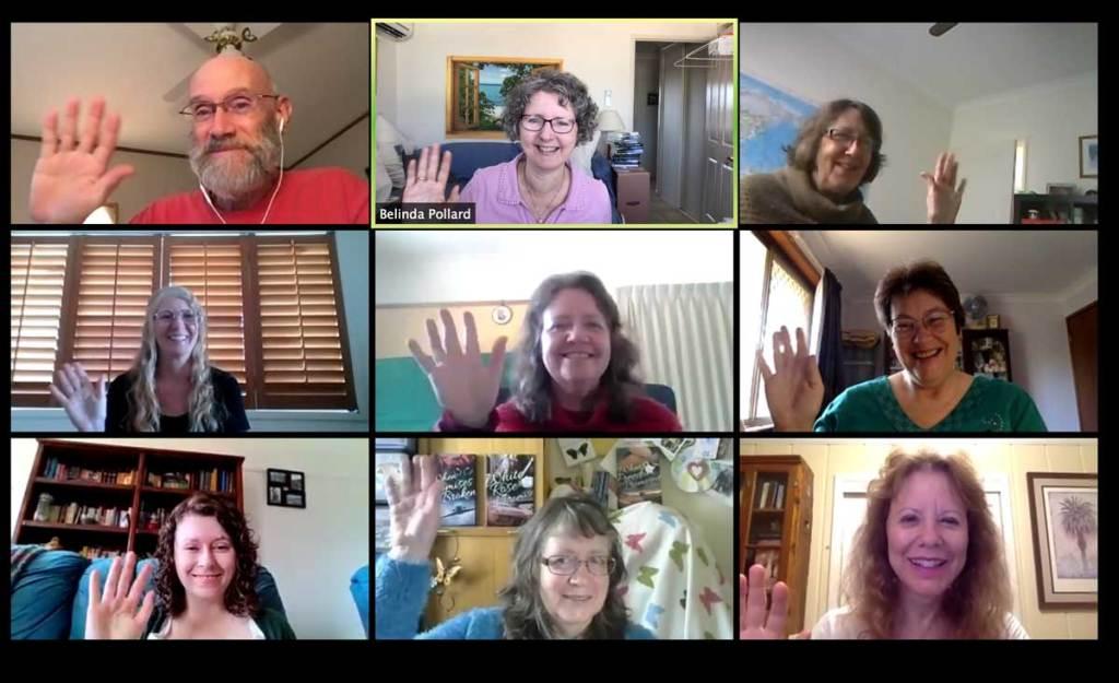 9 people waving in the Gracewriters Zoom meeting