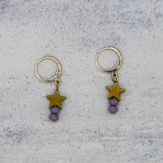 Oorbellen - Golden Star Purple - GraciArt