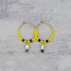 Oorbellen - Happy Hoop Yellow - GraciArt