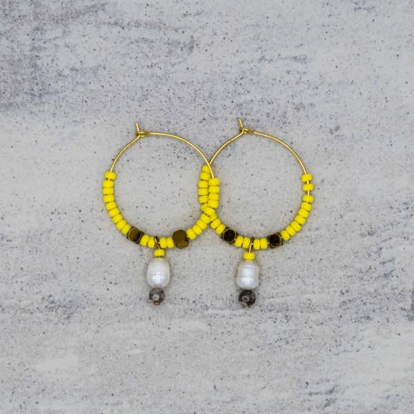 Oorbellen - Happy Hoop Yellow - GraciArt