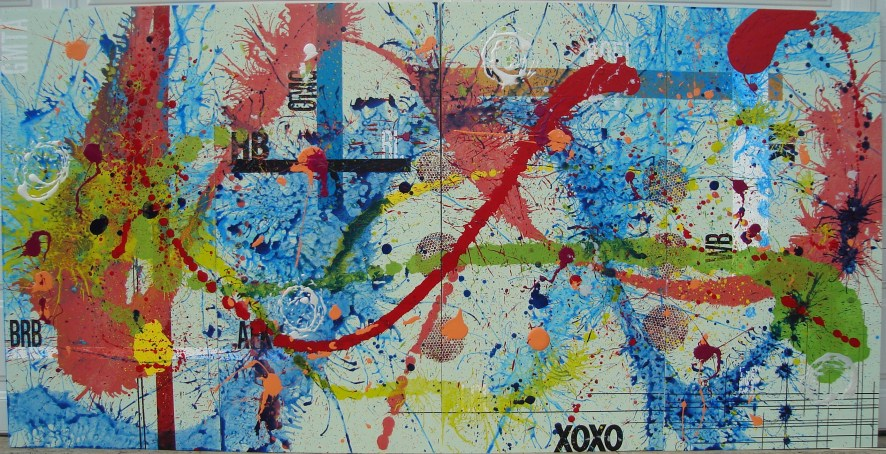 Hugs and Kisses 96x48 inches Mixed media on wood $1500