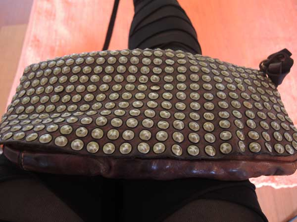 CAMPOMAGGI STUDDED ITALIAN LEATHER BAG WORN BY GRACIE OPULANZA