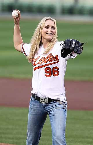 Lindsey Vonn in Boston Red Sox outfit