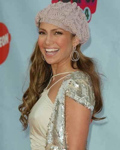 Jennifer Lopez hat and smile