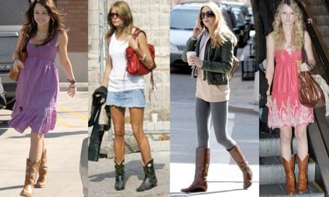 celebrities wearing cowboy boots