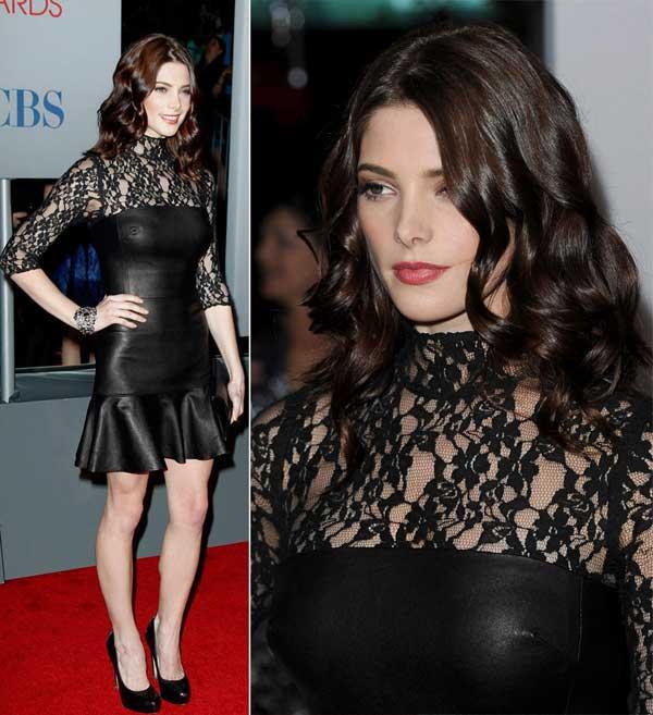 Ashley-Greene-s-black-leather-lace-dress-people-s-choice-awards-2012,-glamour