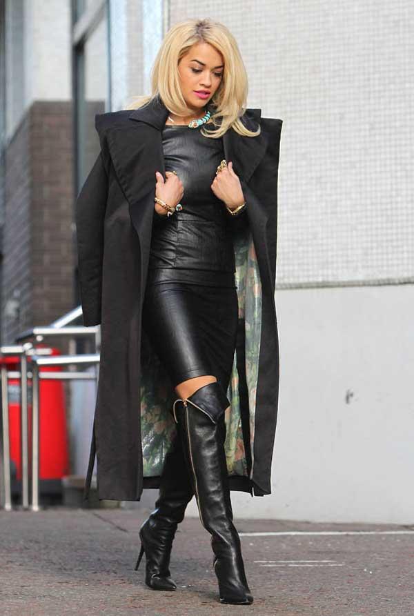 Rita Ora wearing leather from head to toe