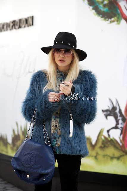 London Fashion Week 2013 - women & fur jackets. blue