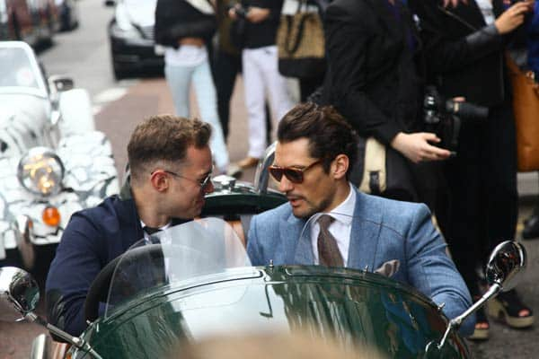 David Gandy - London Collections Men wearing a Reiss Blue Suit 3 Wheeler Morgan