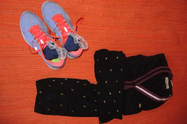 Gracie Opulanza Nike shoes, calzedonia leggings and Ellesse cardigan