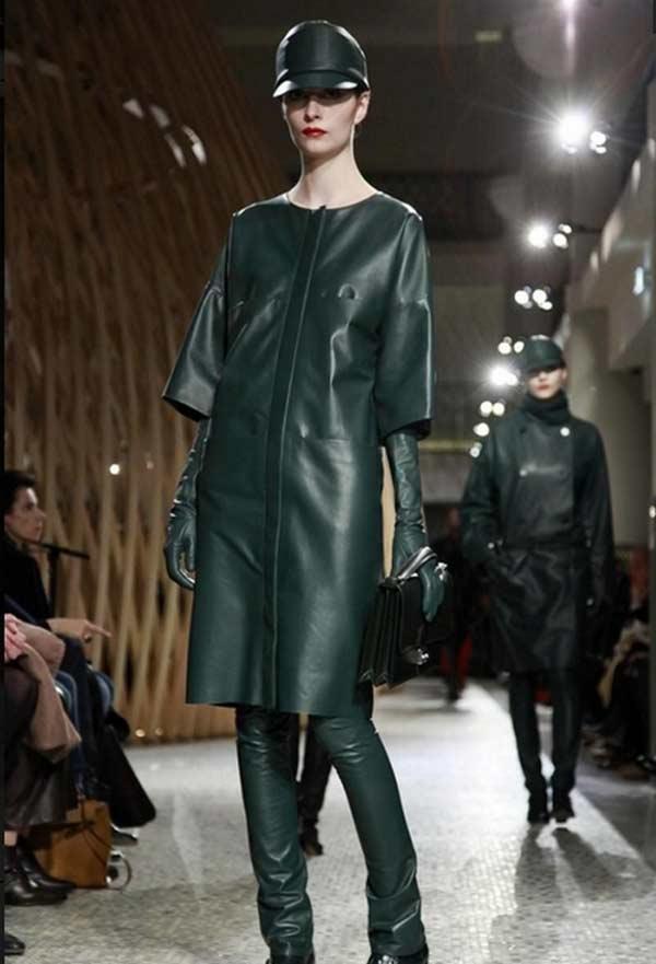 LOEWE Madrid - Leather lace dress & Coat green