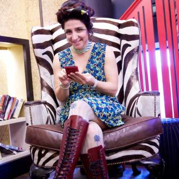 Gracie Opulanza - Wearing Bimba & Lola Dress, Dr Martins Red Boots, Vintage Mink Jakcet and Styled by Zoe Della Rocca