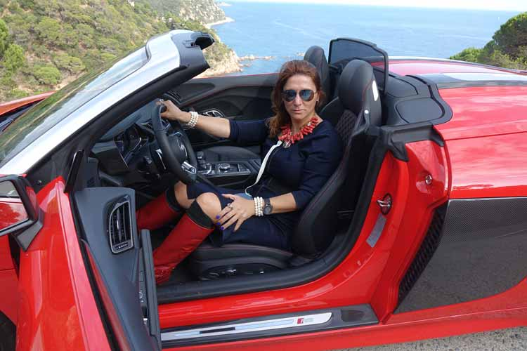 Audi R8 wearing coral reef necklace gracie opulanza