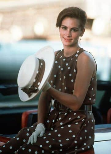 julia Roberts Pretty woman polka dot dress brown and white