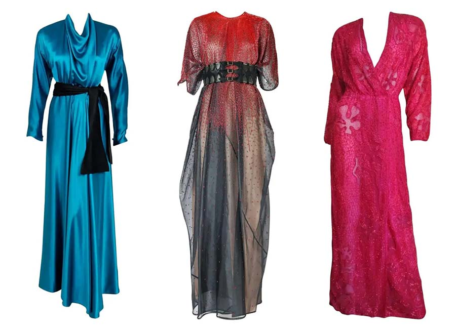 From left 1978 Halston Couture gown, £1,301; 1970s Halston organza kaftan with red bugle beads, £3,036; 1970s Halston beaded wrap gown, £3,470