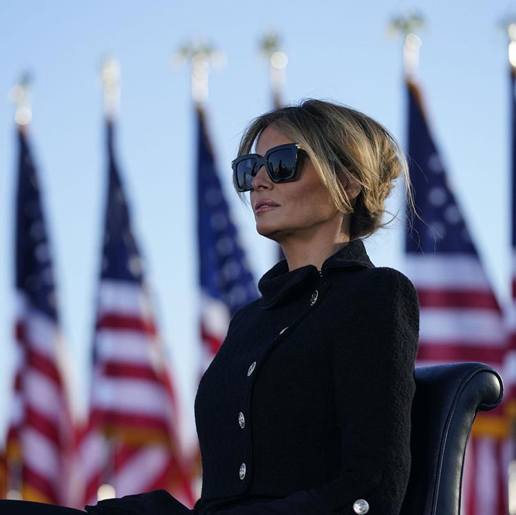 Melania Trump wearing combat military jacket 2021