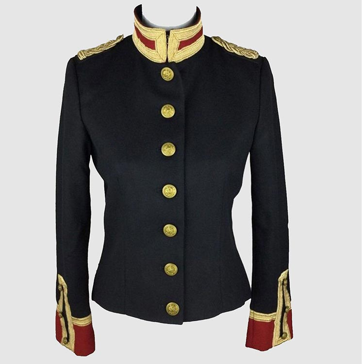 military contrasting jacket wool