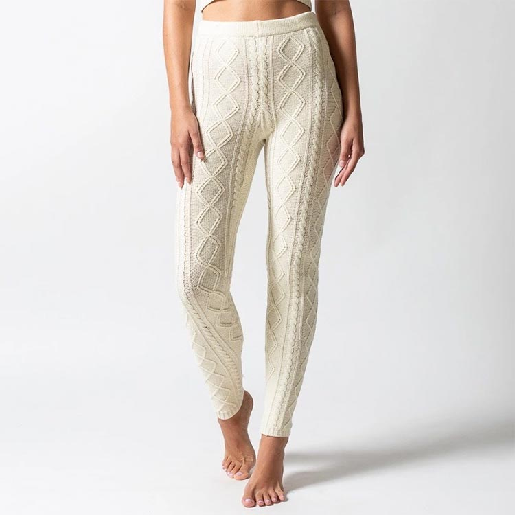 wool cableknit cashmere leggings