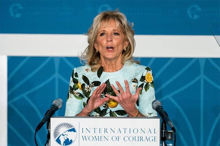 Jill Biden Oscar De La renta lemon mint dress