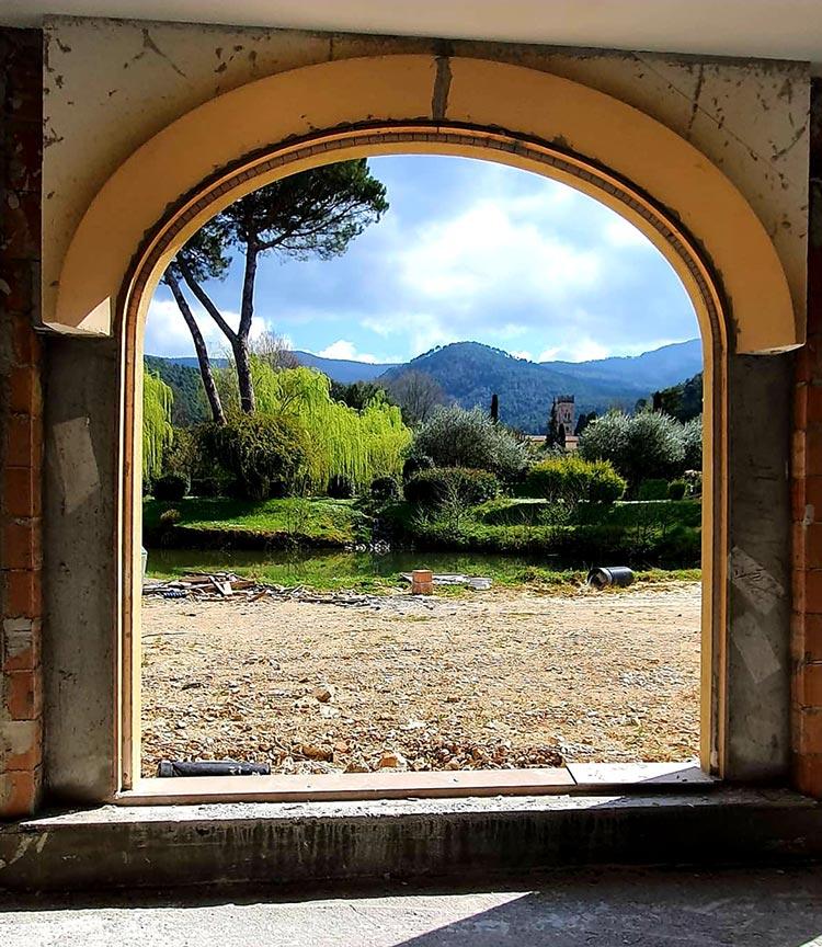 villa restoration window view