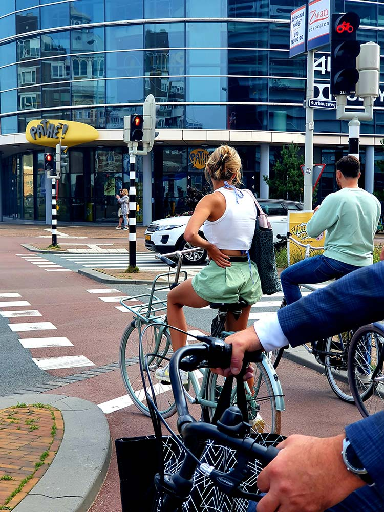 cycling in holland woman green