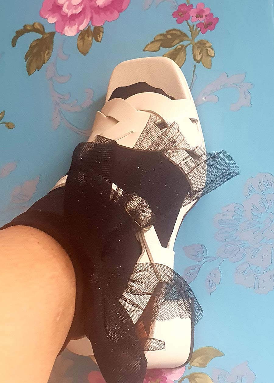 bow socks Fashion For Fifty - Sandals With Socks Style Tips