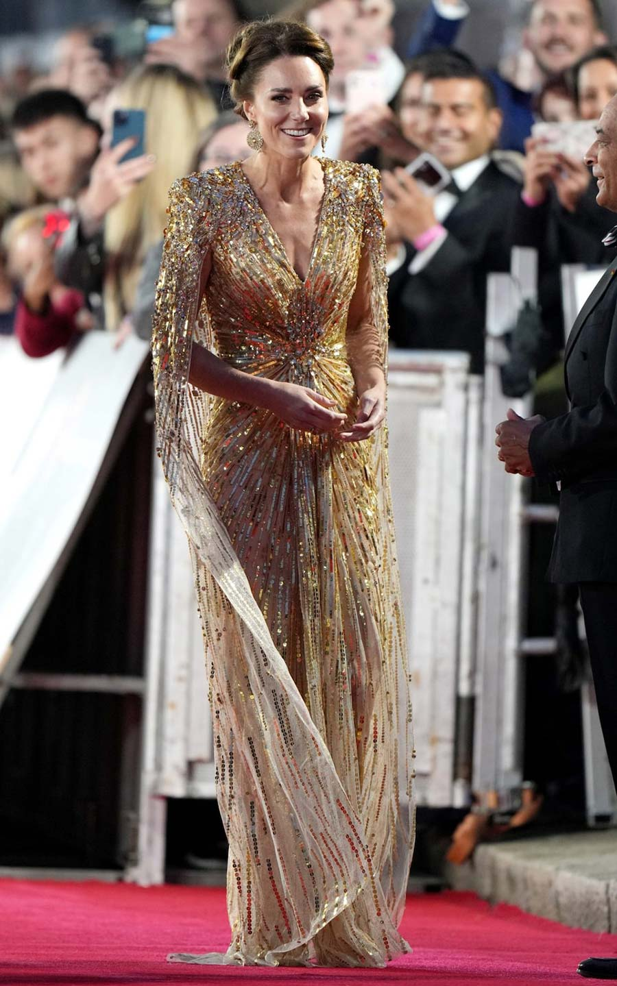 Kate Middleton Gold dress James Bond No Time To Die red carpet 2021