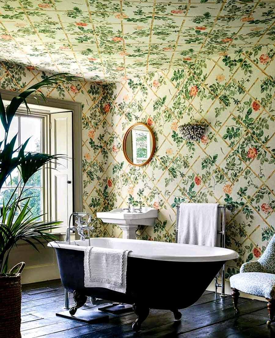 bathroom wallpaper interior design