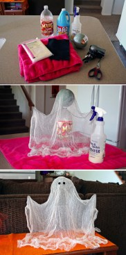Make your own floating ghost with cheese cloth and a few household tools. Via EveryDay is a Crafting Day: http://everydayisacraftingday.com/2010/09/floating-ghost.html/