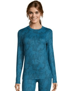 women's cold weather print thermal base layer