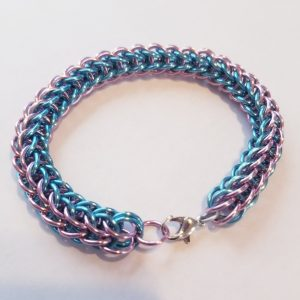 Blue and Pink Chainmaille Bracelet