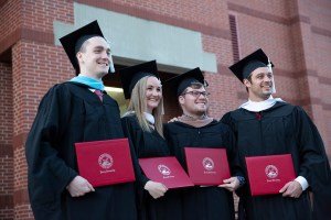 Graduate students on commencement day.