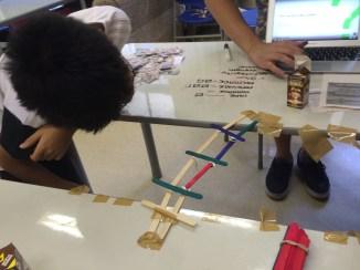 MS student checking bridge project