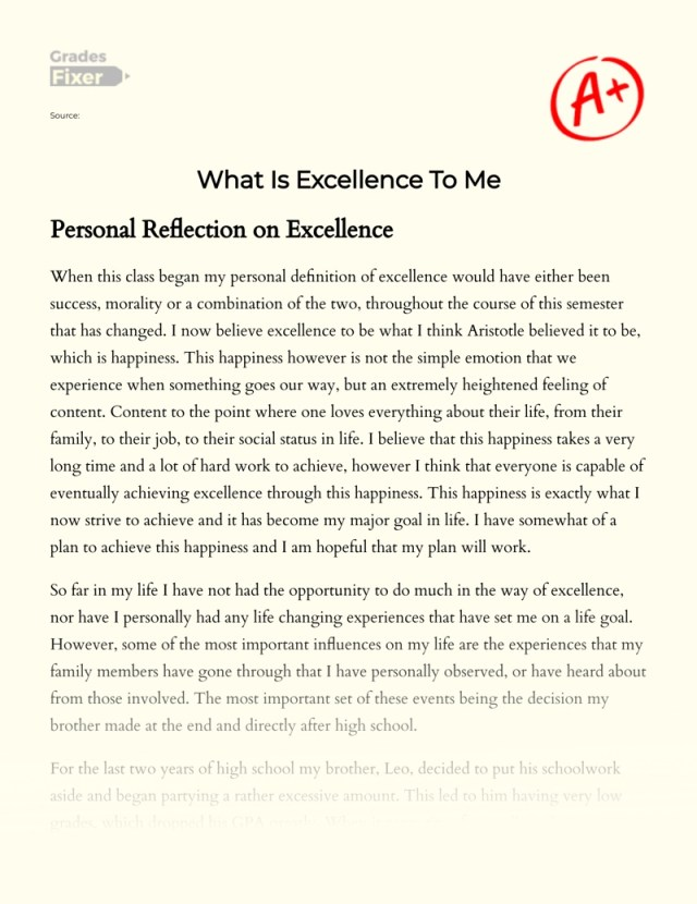 What Is Excellence To Me: [Essay Example], 25 words GradesFixer