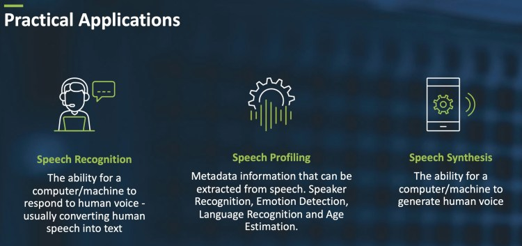 Three main components of voice applications.