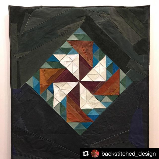 GPS resident artist @backstitched_design brings a new body of work to @apartment_earth_gallery in Charleston tonight. ・・・ So excited that my work is up for the art walk @apartmentearth gallery tonight!  Come by and say hi between 5-8pm. #reclaimedleather #upcycledleather #leatherquilt #dutchmanspuzzle #quiltdesign #leather #abstract #textileart #sustainableart #ecoart #artwalk #madeinwv #appalachianart #madeinthemountains #backstitcheddesign
