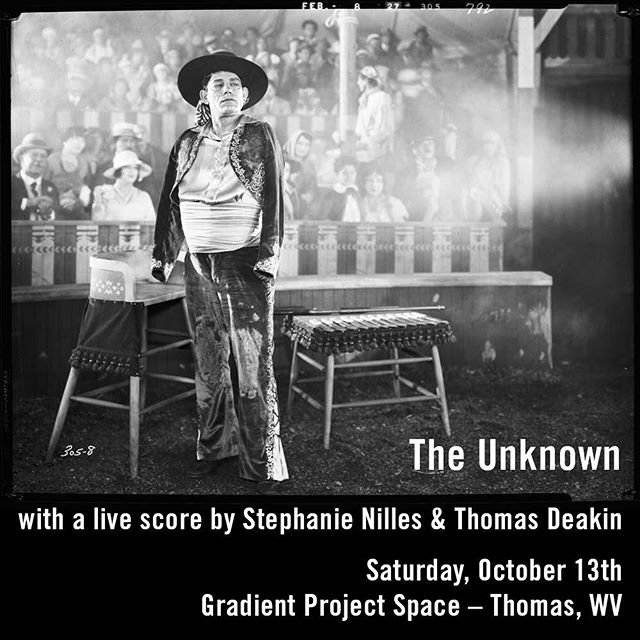"TONIGHT!  Doors at 7:30, Performace at 8:00 sharp!  1927 silent film ""The Unknown"" with Stephanie Nilles and Thomas Deakin playing a live musical score.  #thomaswv"