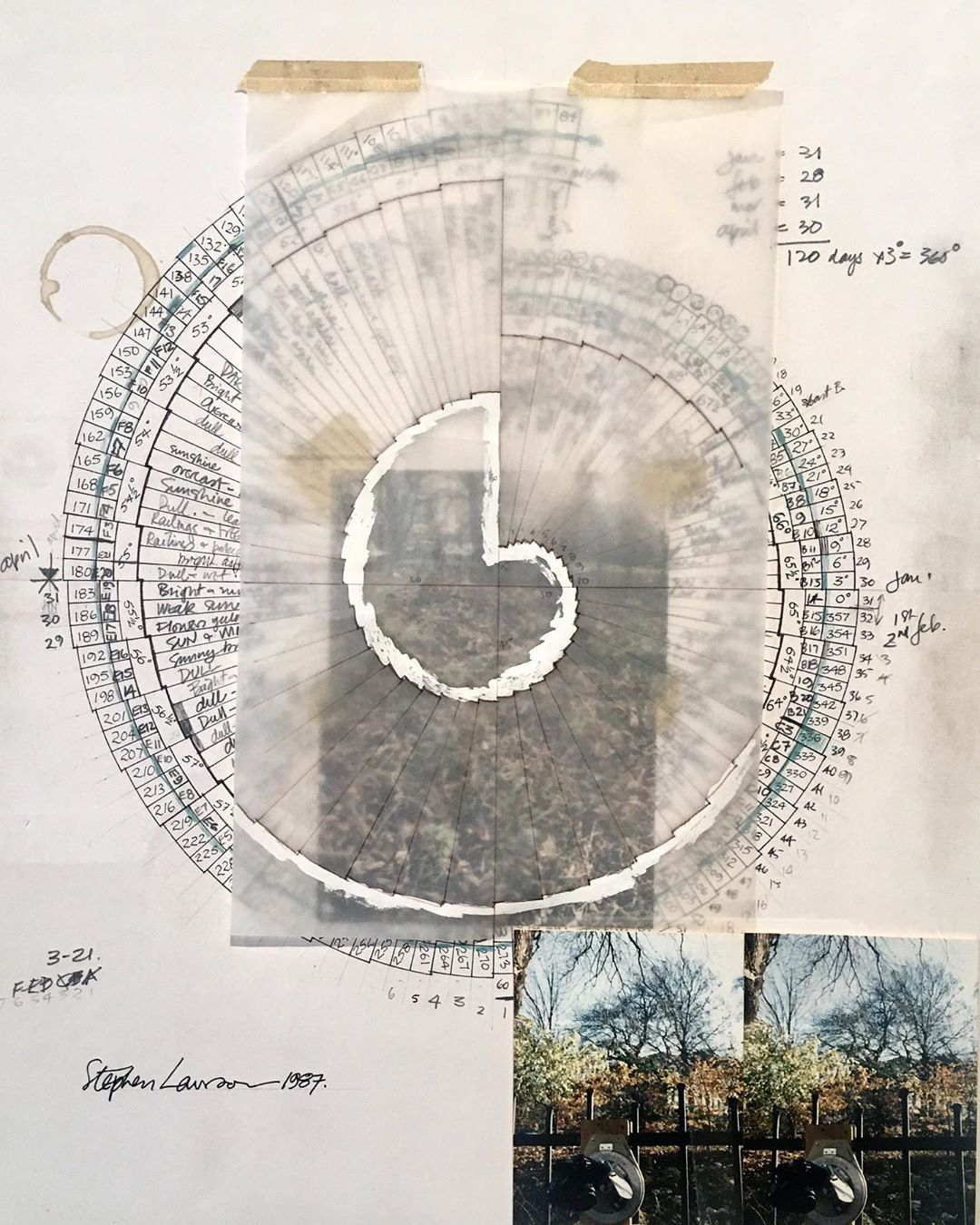 Stephen Lawson – 'Worksheet and Study used in making the photograph 'The Unfolding of Spring' at Royal Circus Gardens, Edinburgh.  Part of 'Time of Mind' at @gradientprojects through August 11.