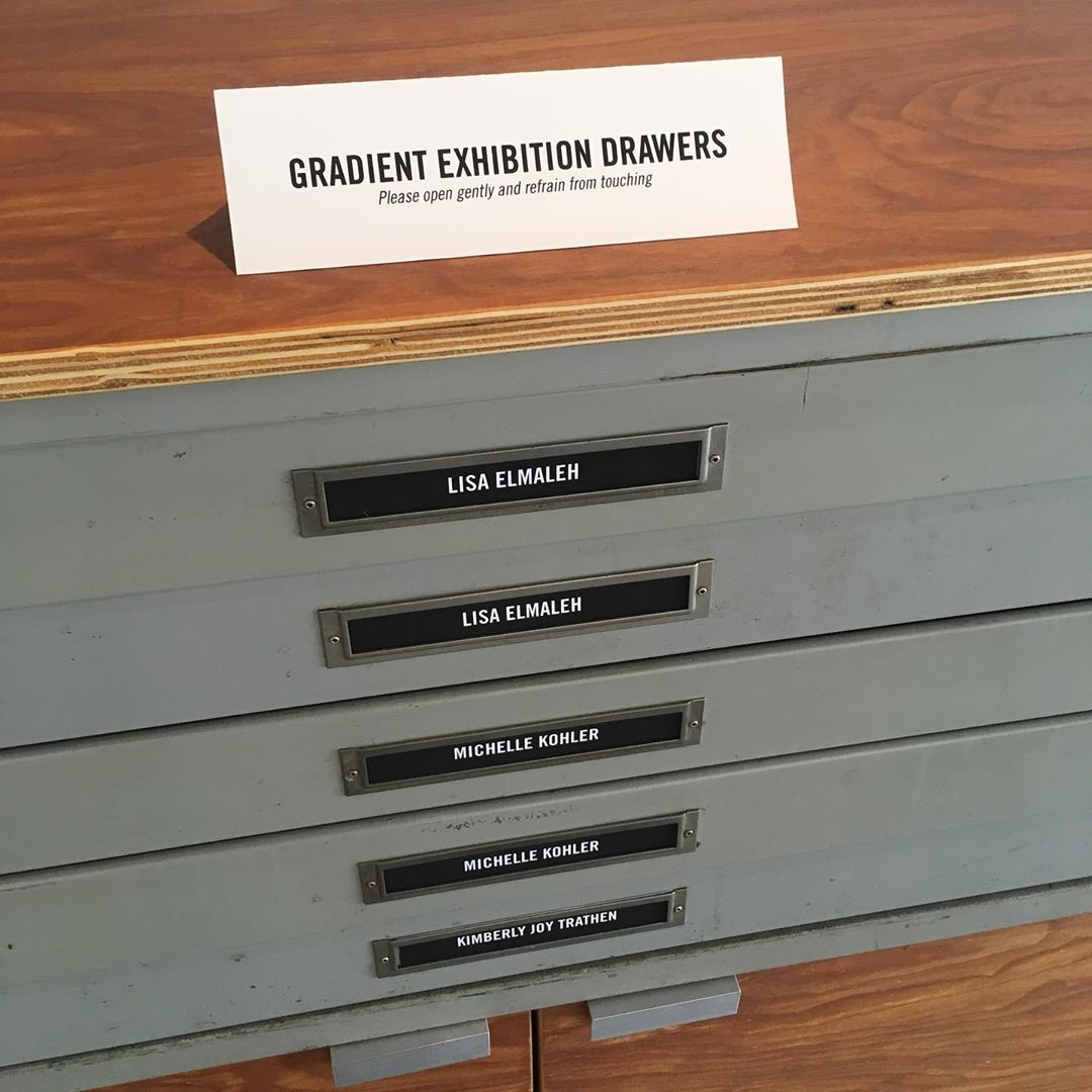 GPS Exhibition Drawers.  With work from @elmalayheehoo @mozarkrm @backstitched_design @michellekohlerstudio & @jrbrubaker  Come see them tonight, 6-9pm, as part of #thomasartwalk